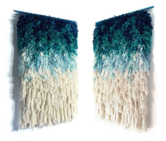 MADE TO ORDER Woven wall hanging / Furry mint dreams by jujujust