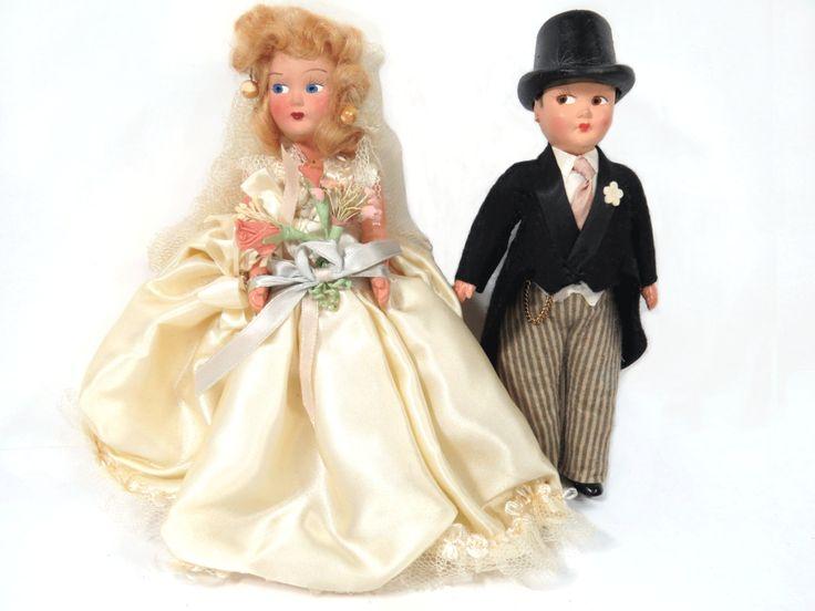 Vintage Bride & Groom Dolls, Original Box, Wedding Cake Topper, 1950s Composition, Play-House Dolls by UrbanRenewalDesigns on Etsy