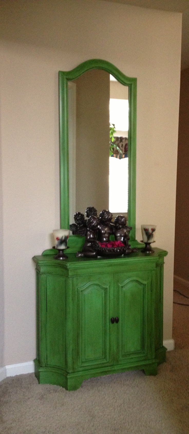Annie Sloan Antibes Green With Clear And Dark Wax Green Painted Furniture Annie Sloan