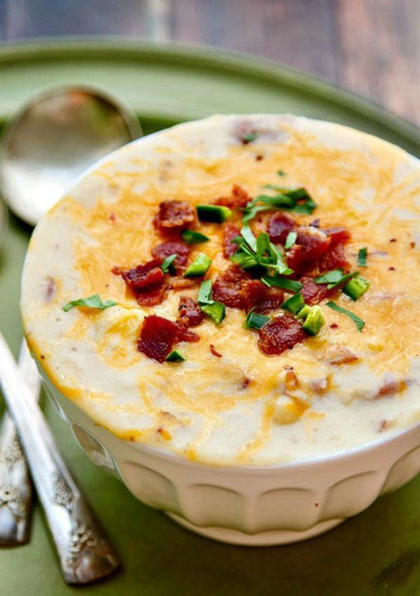 Κρεμμώδης πατατόσουπα με τσένταρ και μπέικον