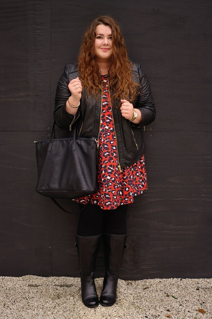 Groe Gren Plus Size Fashion Blog - red leo dress leather jacket and high leg boots
