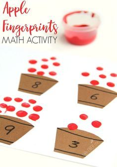 Kids will love this Apple Fingerprint Math Activity that is perfect for building fine motor development and math skills this Fall. via /lifeovercs/