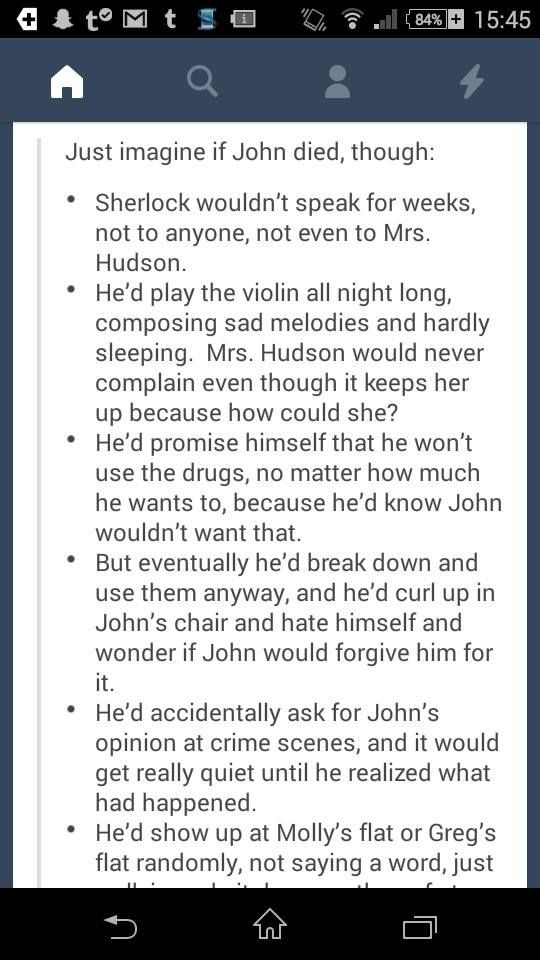 """When John thought Sherlock was dead it was horrible. But John was the """"normal"""" one, he could get on. Imagine guys, if Sherlock had lost John."""