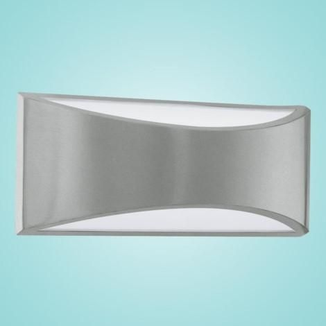 """LED Outdoor Wall Light w/ Silver Finish & White Glass 2 x 6W Dimensions:L:11.42""""; H:4.53""""; D:2.80"""" Type of bulb:LED - Included Kelvin:3000K - Warm White"""