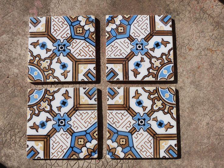 Antique floor mosaic tile architecture salvaged terracotta, French vintage tiles ceramic architectural salvage decor