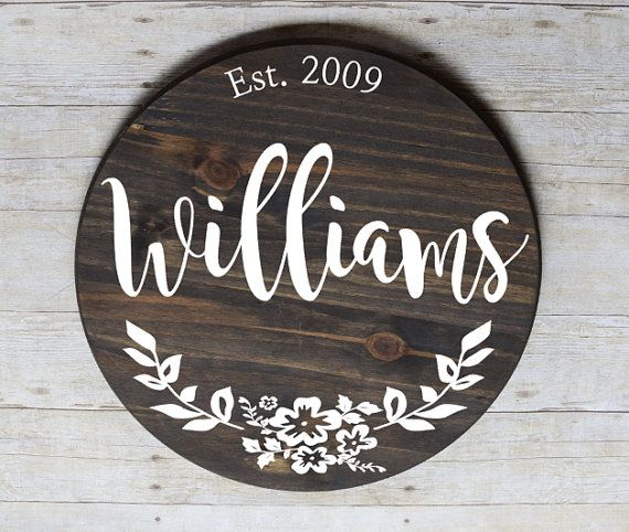 Family established sign, newlywed last name sign, housewarming gift, round last name sign, wood established family sign