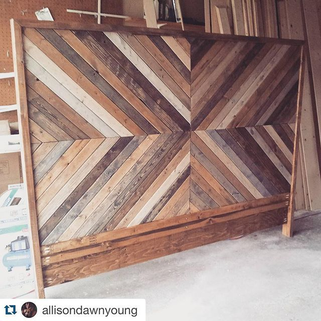 @allisondawnyoung did a beautiful job on her West Elm-inspired chevron headboard build (plan by @jenwoodhouse). Find the how-to at jenwoodhouse.com