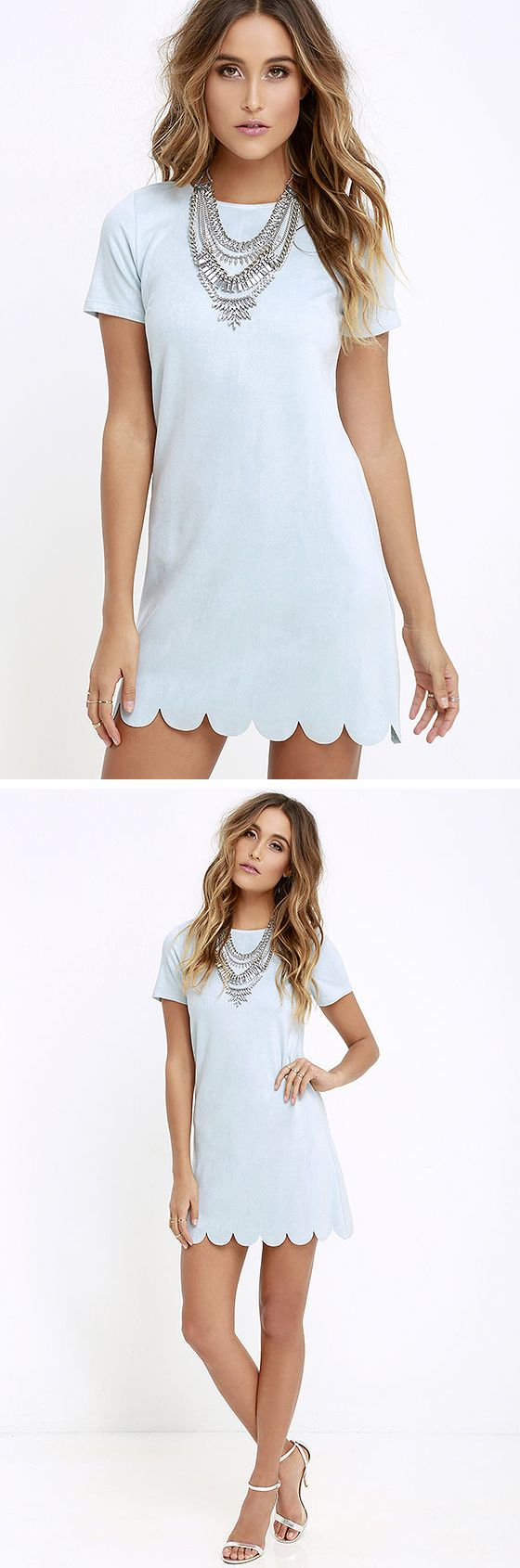 Light Blue Scalloped Dress