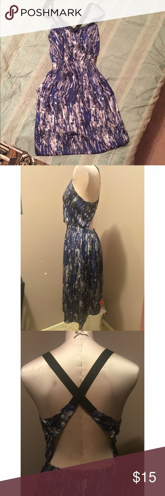 Summer dress Cross back with from pockets blue and silver summer dress Dresses Midi