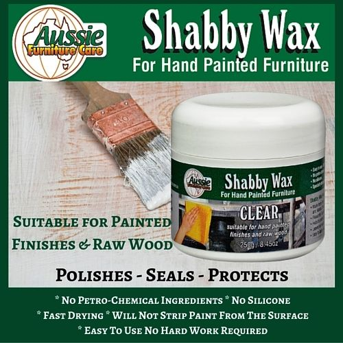 Shabby Wax For Hand Painted Furniture. Specialised wax specifically formulated to seal, polish and protect Shabby Chic, hand painted finishes as well as raw wood furniture.   Finishing Wax for Hand Painted Furniture, If you own or create hand painted or raw wood furniture and want to seal and polish it, this wax is perfect for you.   Dries and seals in less than 10minutes. Leaves a smooth smear free finish. Works beautifully on chalk paint