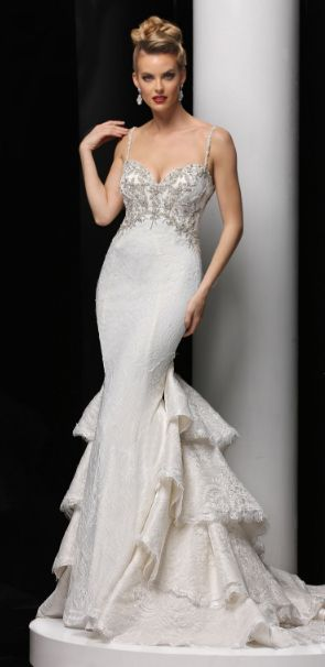 Featured Dress: Simone Carvalli; Wedding dress idea.