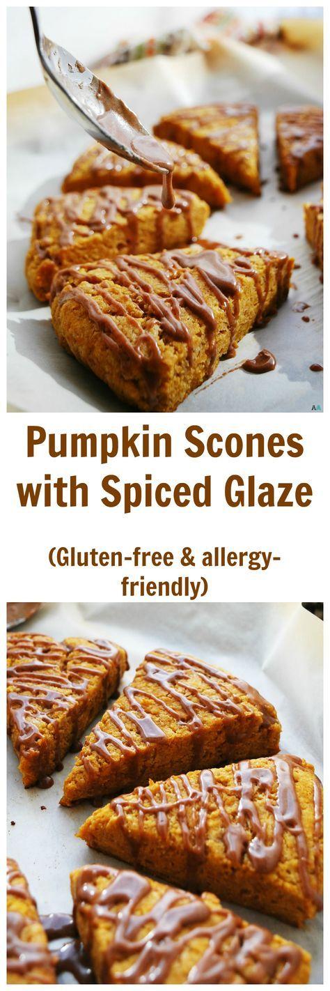 Pumpkin Scones w/ Spiced Glaze (Gluten, dairy, egg, soy, peanut & tree nut free; top 8 free; vegan) Breakfast recipe by: AllergyAwesomeness.com