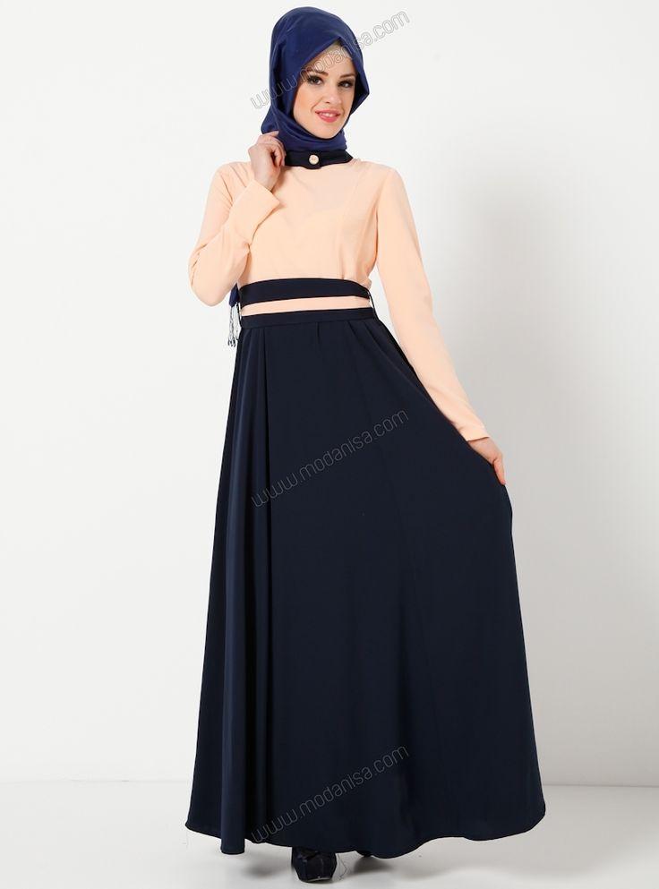 Kemeri Fiyonklu Elbise 6490 - Somon - Vivezza