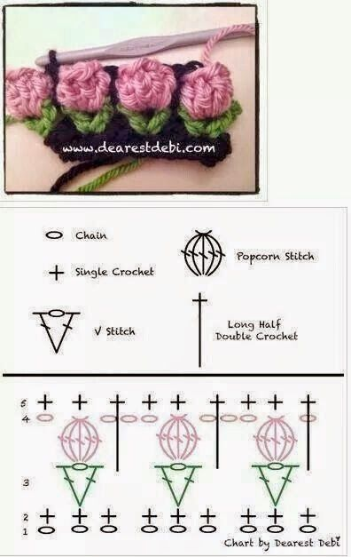 Haak / haken Diagram tulp haaksteekje - free crochet duagram tulip crochet stitch: