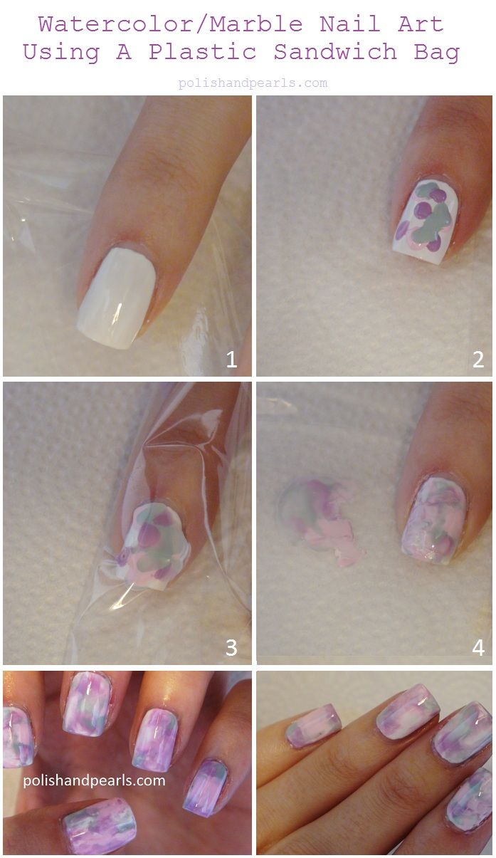 Easy nail art design using a sandwich bag.  Looks way easier than water marbling.