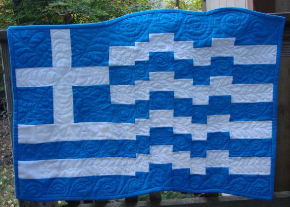 Greek Flag Quilted Wall Hanging by MaryMackMadeMine on Etsy, $62.00