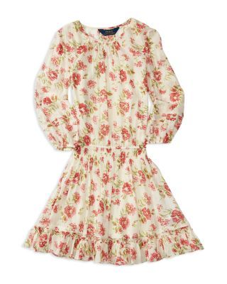 Ralph Lauren Childrenswear Girls' Floral Chiffon Peasant Dress - Sizes 7-16 | Bloomingdale's