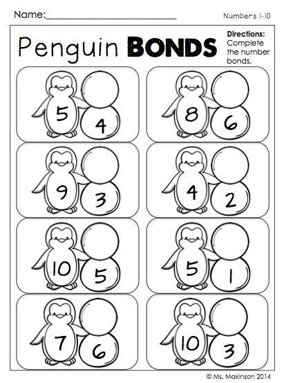 January Printables - No PREP (First Grade) Winter Themed - Penguin Number Bonds