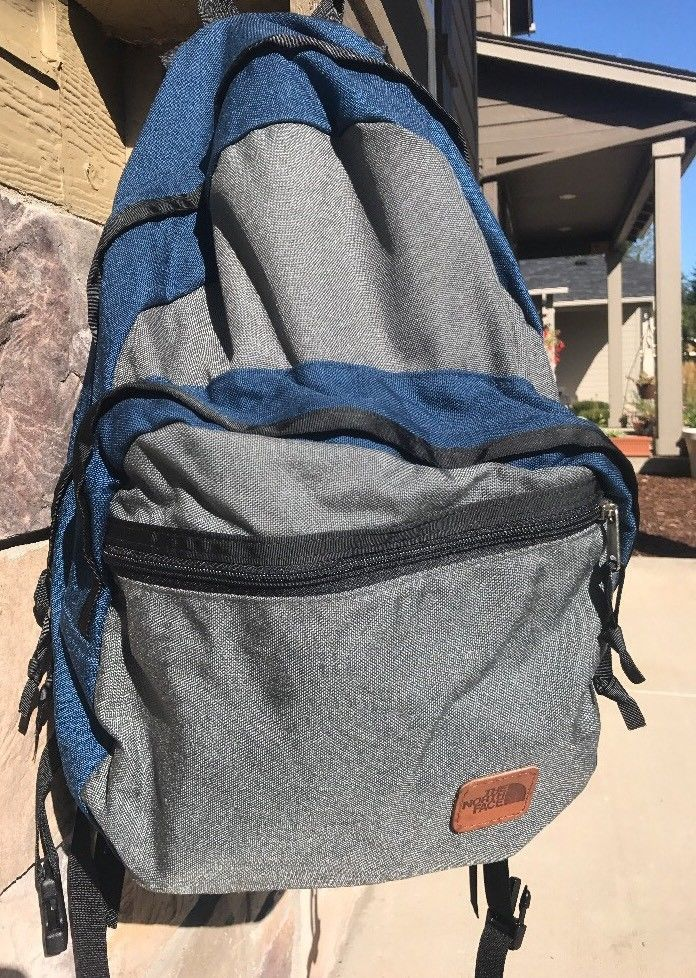 9b5135c8b834 The North Face Grey Blue Day Backpack New Leather Hiking Camping Walking  Small