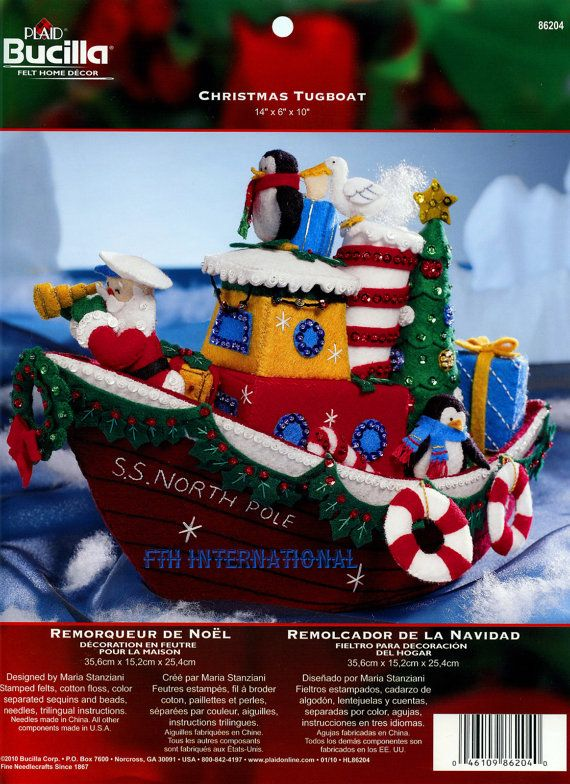 Bucilla Christmas Tugboat  Felt Christmas Home Decor Kit