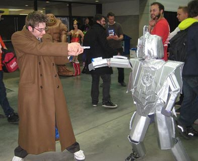 The Doctor fights the smallest cyberman ever....Edmonton Expo 2013.