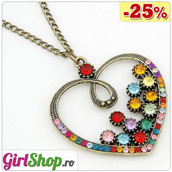 Colier cu pandantiv inima cu cristale colorate Azi cu 25% reducere! Vezi mai multe detalii aici: http://www.girlshop.ro/cumpara/colier-cu-pandantiv-inima-cu-cristale-colorate-147