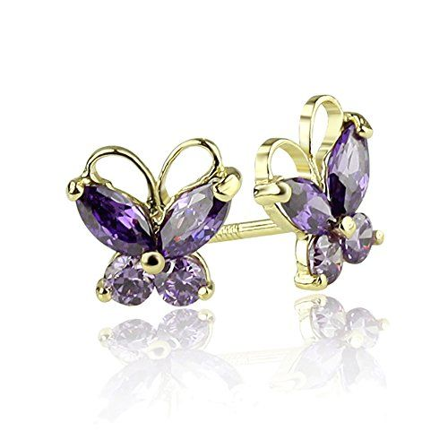 Fine Jewelry Genuine Amethyst 14K Rose Gold Over Silver Stud Earrings joIfV
