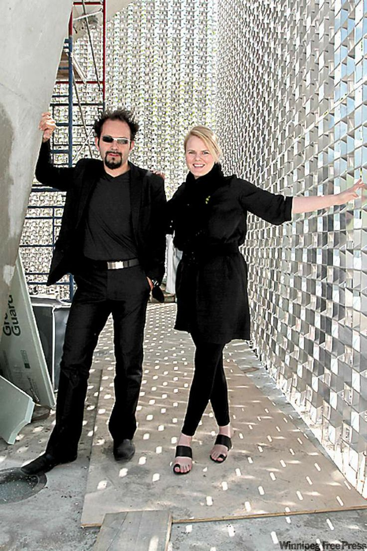 Architects Sasa Radulovic, left, and Johanna Hurme inside The Cube, the new Exchange District stage that entertains with or without the help of performers.