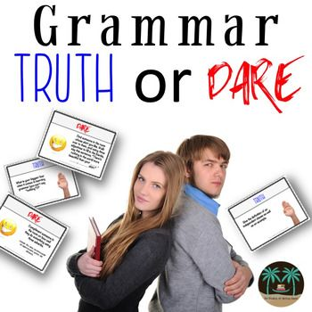 Truth or Dare Grammar Game (6-12 Grades). Spice up grammar lesson plans with grammar games.  || Ideas and inspiration for teaching GCSE English || www.gcse-english.com ||