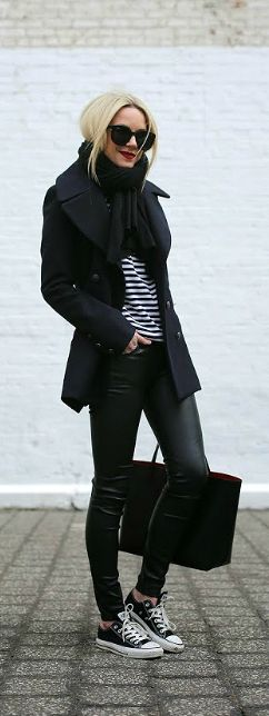 Fall / Winter - street style - black coat + black scarf + black & white stripped top + black leather skinnies + black converse