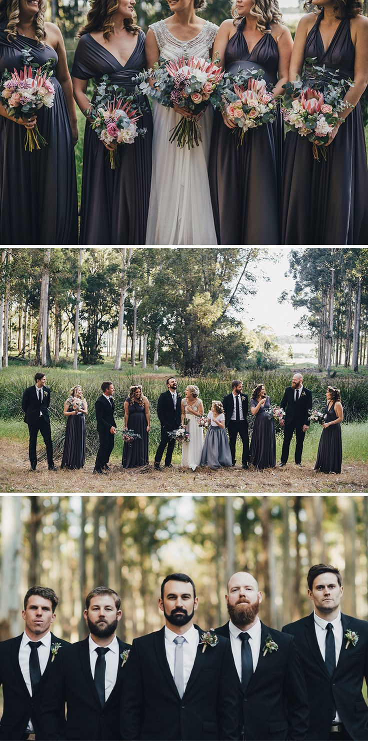 Dark purple bridesmaid dresses with pink protea bouquets and black groomsmen suits | iZO Photography