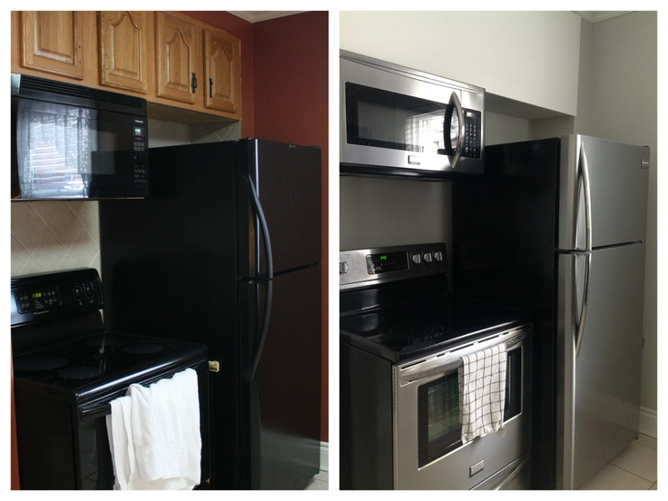 Kitchen before and after ikea appalad upper cabinets owl for Chalkboard appliance paint