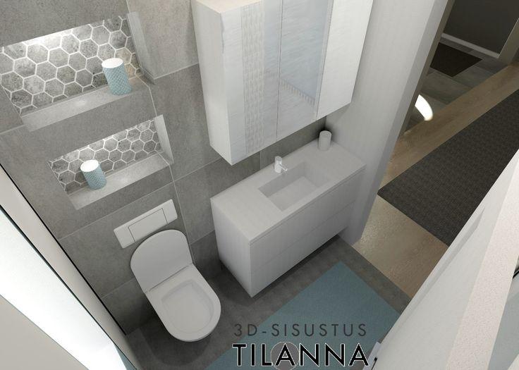 3D - sisustussuunnittelu / moderni harmaa wc, modern bathroom, grey toilet, bathroom / 3D-sisustus Tilanna