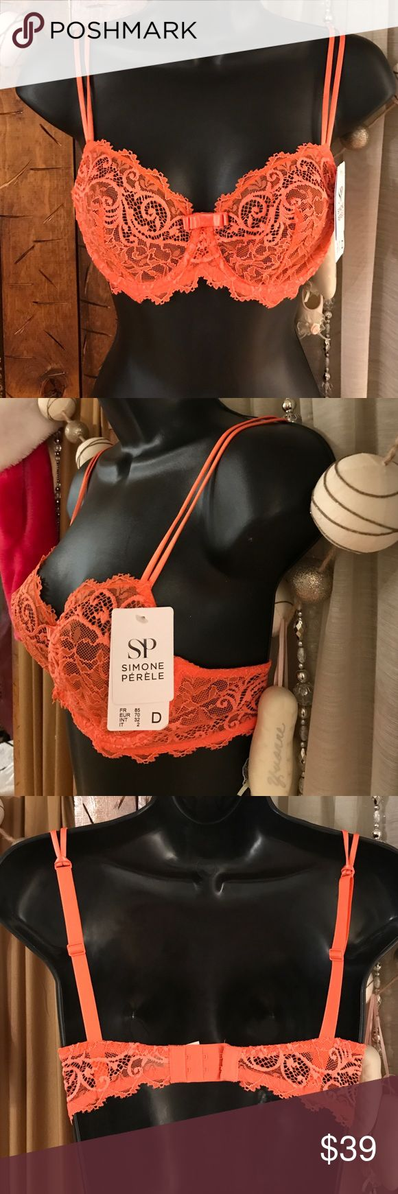Simone perele orange lace underwire bra. BNWT. One of the higher end undergarments. Retails 89$ plus tax. So this is an incredible deal. Underwire to hold everything up. But still very comfortable. Double Spaghetti  straps and back thicker adjustable strap.  It's gorgeous and sexy that you can still wear under regular clothes. I love wearing these great colors under sheer tops. Be sexy and modest at the same time or surprise someone with your gorgeous undergarments, they will appreciate…