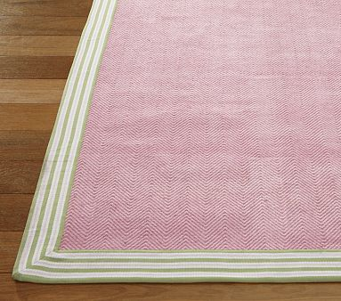 Pb Rug Little Pink Chevron And A Green And White Tape