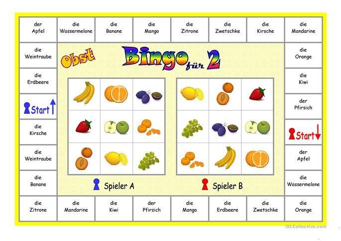 Bingo für 2 Spieler _ Obst