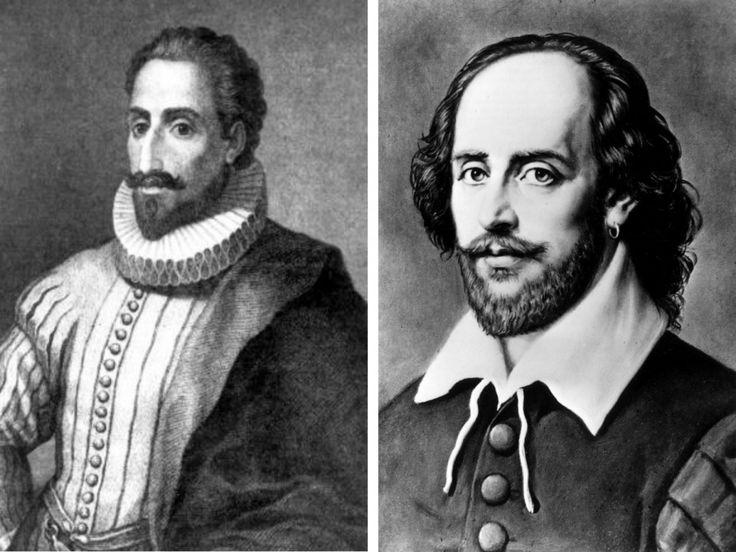 Alt= Retratos de los escritores Miguel de Cervantes (i) y William Shakespeare (d). EFE/ Keystone.