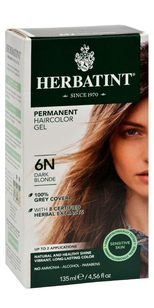 Herbatint Permanent Herbal Hair Colour Gel 6n Dark Blonde  135 Ml