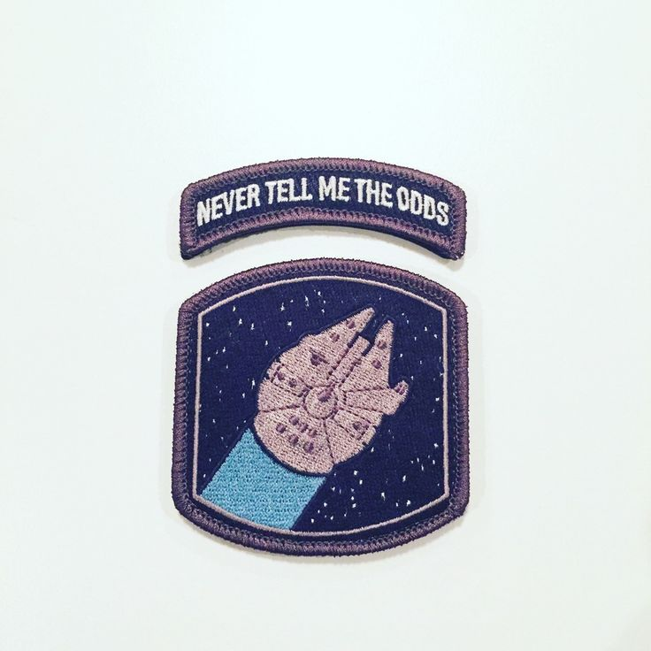 """Never Tell Me The Odds Falcon Morale Patch is High Quality 100% Embroidered 2.73"""" W X 2.8""""H Velcro with Hook and loop backing. Morale Patch design by guest artist UrsusX (Patrick Ma)"""