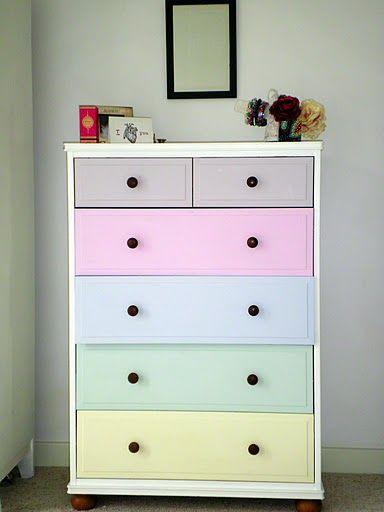 Why not get our chests of drawers painted like this - clever for a kid's room and the pastel scheme works well.  See all our children's bedroom furniture and accessories here: http://www.thedormyhouse.com/catalogue/kids-room