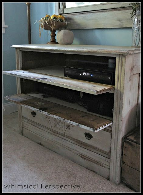 dresser media cabinet with hinged drawers to hide dvd player and electronics, open or use smart remote (Whimsical Perspective)