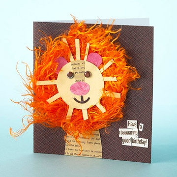 Birthday Cards for Him By Caitlin Berens: Lion Birthday Card. A faux-fur mane gives this wild lion card a fun 3-D flair. Cut the lion's head, nose, ears, and mouth from scraps. Adhere the face atop a fuzzy mane, then use two brown brads for eyes. Attach a roaring good birthday message to complete this jungle of a card.