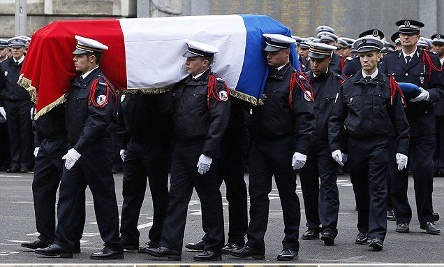 Macron and Le Pen attend ceremony for slain policeman | Daily Mail Online