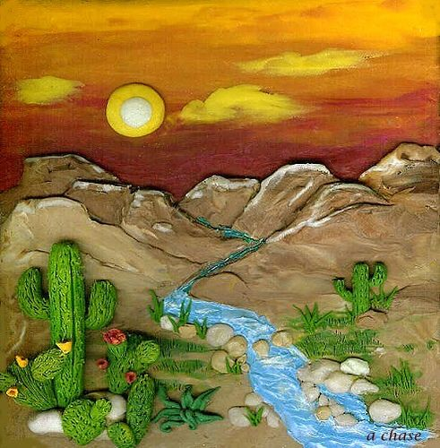 "https://flic.kr/p/4Nvotd | Desert Dream | Miniature one-of-a-kind polymer clay sculpted landscape - 3 3/4"" x 4 1/4"" No paint is used!"