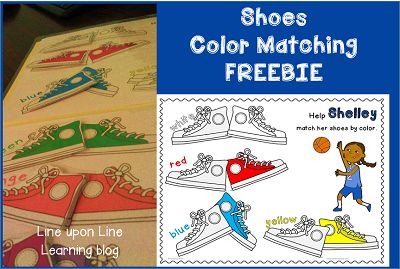 i love my shoes color matching game freebie cats colors and activities. Black Bedroom Furniture Sets. Home Design Ideas