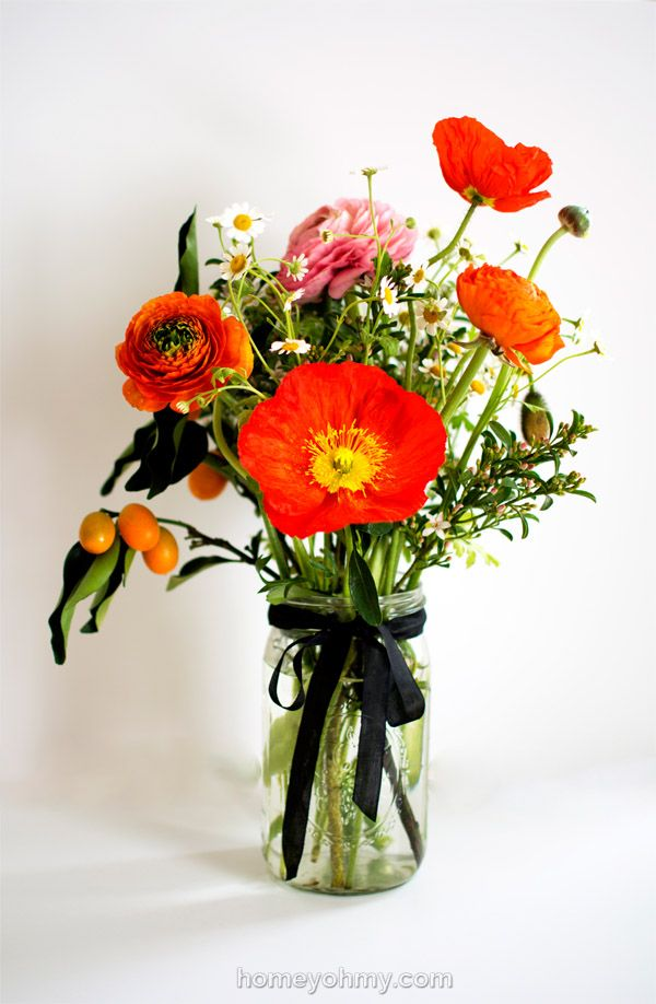 How to Arrange Flowers- Ranunculus, kumquats, and poppies