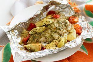 Souper de poulet et d'artichauts en papillote