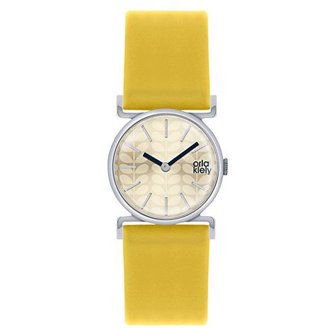 Buy Orla Kiely OK2021 Women's Wide Strap Leather Strap Watch, Yellow/Cream Online at johnlewis.com