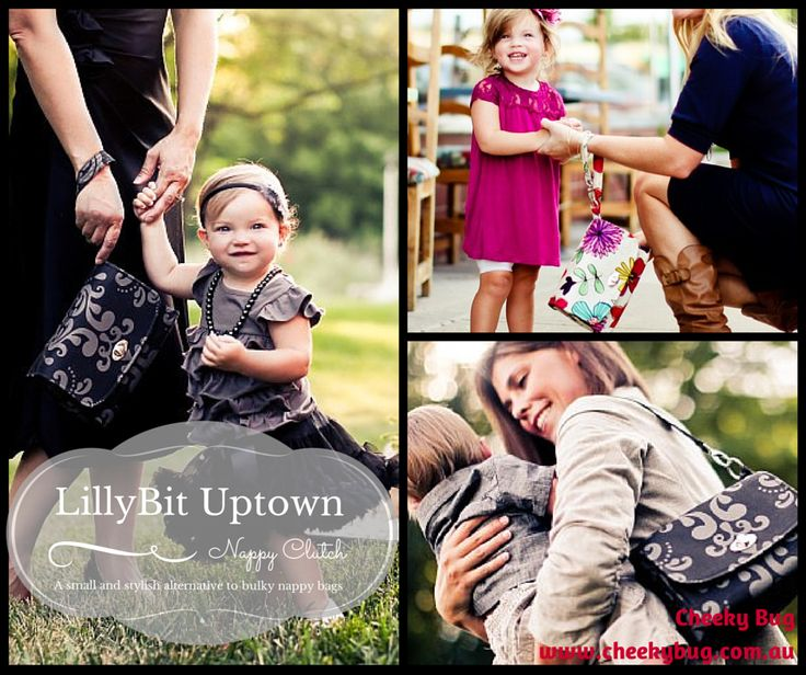 Small and stylish, this nappy bag is full of surprises! The patented LillyBit Uptown Nappy Clutch is the stylish alternative to bulky nappy bags; designed with luxurious details and convenient features that allow modern parents to change baby in a snap!  http://www.cheekybug.com.au/all-products/lillybit-uptown-nappy-clutch.aspx?lv.crumb=18233
