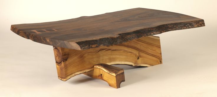 coffee table with claro walnut top, mulberry base